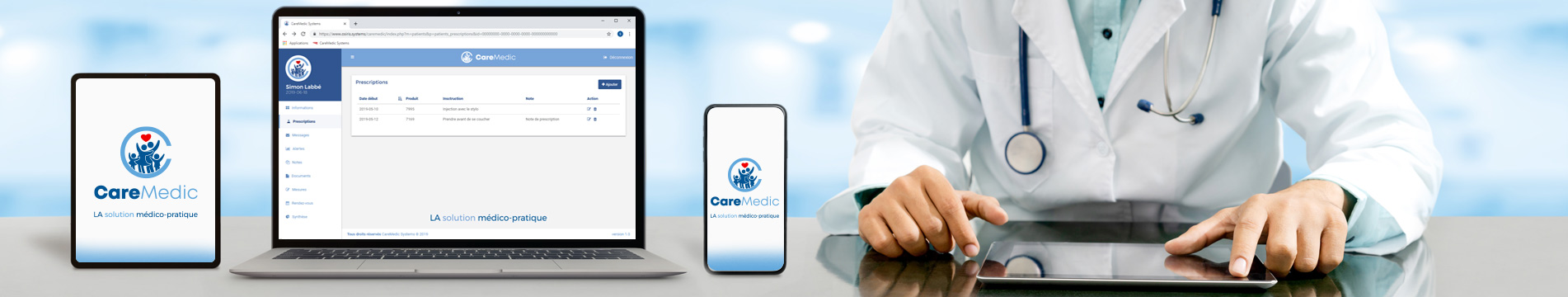 Solution CareMedic - Banniere - La solution medico pratique medecin pharmacien infirmier patients dossier medical application